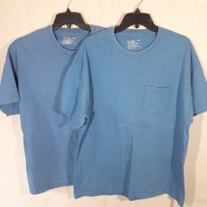 2 Men's Hanes Shorts Sleeve work Tee shirts